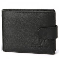 Men Fashion Genuine Leather The New Wallet Student Card Package Short Paragraph Wallet black one size