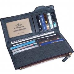 Men Long Section Wallet Multifunction Zipper Clutch Western Style Fashion Wallet blue one size