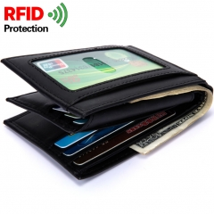 Men Genuine Leather Wallet Coin bag Wallet Student Fashion Trend Cowhide Wallet black one size