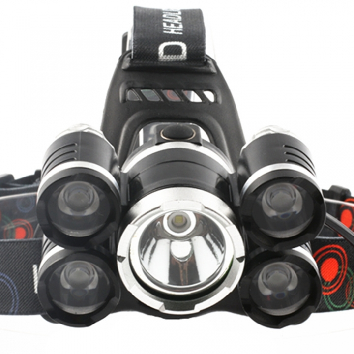 Outdoor Flashlight Five Heads Focus Long Shot High Power Headlamp Charge led Miner'slamp black one size