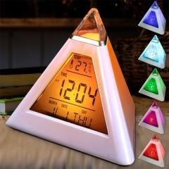 Triangle Colorful Discoloration Alarm Clock Pyramid Led Temperature Display Alarm Clock