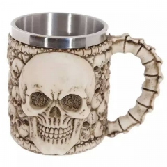 Skullmug Creative Stainless Steel Double Skull Coffee Cup  Kiki's head Modeling Glass 1 one  size