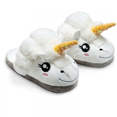 Unicorn Soft Home Cotton Slippers Keep Warm Plush flip flop Gold Antenna Horn Shoes white one size