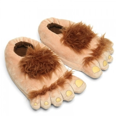 Retro Savage Flip flop Hobbit Big Feet Toe flip flop Home Cotton Slippers Package With Figure one size