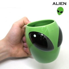 Ceramics 3D Alien Alien Mug Creative Cartoon Green Birthday Gift Drinking Glass green one size