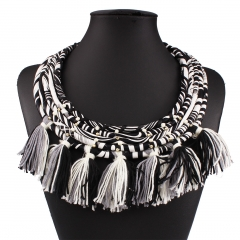 Western Style Ms Fashion Popular Multi-layer Tassel Necklace Accessories white black ms