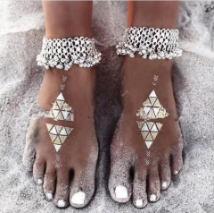 Western Style Fashion Openwork Bells Anklet   Retro folk-custom Tassel Women Anklet silver ms