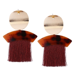 Western Style Ms Fashion Personality Tassel Geometry Alloy Earring red ms