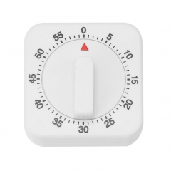 Vintage White Square 60-Minutes Mechanical Timer Reminder Counting for Kitchen