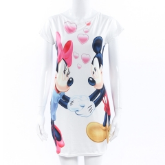 Ms personality Cartoon illustration fashion Mickey mouse Slim Package hip Mini dress white s