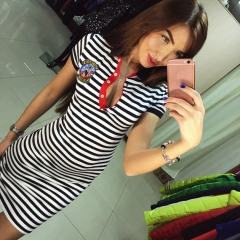 Western style Ms Fashion Stripe Package Hip Slim Mini Personality Dress s one size