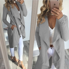 Western Style Ms Autumn And Winter Fashion Large Lapel irregular In the long Section Cardigan Coat gray s