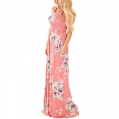 Western Style Ms Personality Fashion Printing Loose Sleeveless Trend Dress pink s