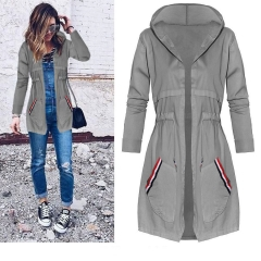 Western Syle Ms Autumn And Winter Fashion In the Long Section Slim Hooded Windbreaker Coat gray s