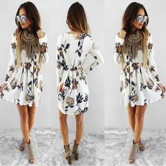 Western Style Ms Autumn And Winter Fashion Bottom Simple Printing Pleated Personality Dress white s