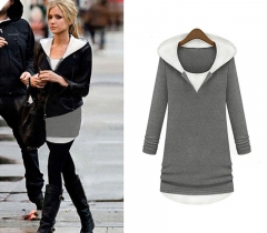 Western Style Ms Autumn And Winter Fashion Stitching Round Neck Design Hooded Sweater gray s