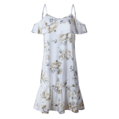 Western Style Ms Fashion Printing Sling Ruffle folds Fly fly Sleeve Personality Dress white s