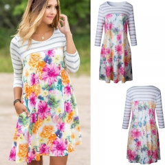 Western Style Ms Fashion The New Printing Personality Trend Dress white s