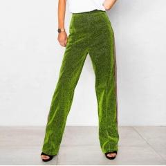 Western Style Ms Fashion Sexy Popular Shiny Fluorescence Long Pants green s