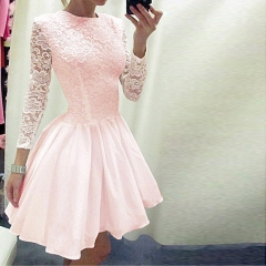 Western Style Ms Summer Fashion Lace Zipper Round Neck Pleated Sexy Dress pink s