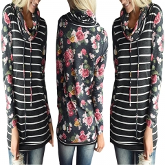 Western Style Ms Autumn And Winter Fashion Popular stripe Stitching Printing personality Sweater gray s