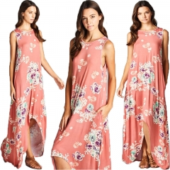 Western Style Ms Summer Fashion Sexy Printing Loose Sleeveless Trend Dress pink s