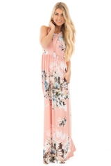 Western Style Ms Fashion Printing Loose Sleeveless Dress Trend Dress pink s