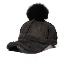 Autumn And Winter Wild Hairball Baseball cap Fashion Student Thickening lovely street Caps black one size