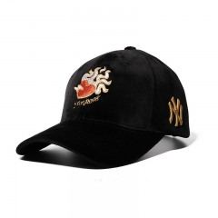 Western Style Retro Embroidery Golf Hat Caps Curved Hat Outdoor Movement hat black one size