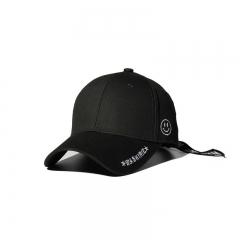 Creative Zipper Solid Color Hat Wild Original Caps Student Smiley Baseball cap black one size