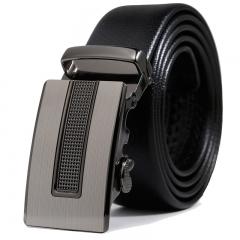 Men Genuine Leather Automatic Buckle High-end Business Belt Fashion Men's trend belt black one size
