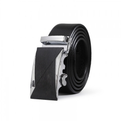 Men Fashion Belt Genuine Leather Automatic Buckle Personality Trend Wild Belt black one size