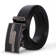 Men Personality Automatic Buckle Wild Belt Youth Business Student trend Belt black one size