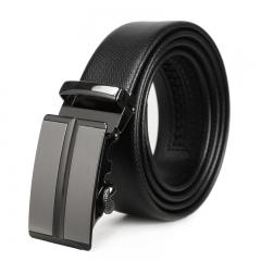 Western Style Men Fashion Automatic Buckle Genuine Leather Belt Leisure Business Belt black one size