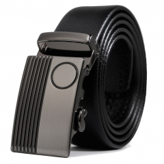 Men Genuine Leather Fashion Automatic Buckle Belt Leisure Business personality Belt black one size