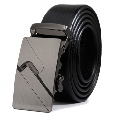Men Fashion Belt Automatic Buckle Business Youth student personality belt black one size