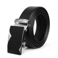 Men Business Automatic Buckle Genuine Leather Belt Leisure Youth Fashion Belt black one size