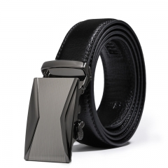 Men Automatic Buckle Business Simple Belt Leisure Youth Cowhide Belt black one size