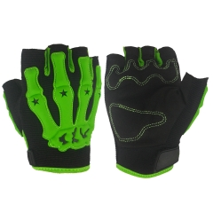 Mountain Bike Bicycle Riding Gloves Skull Half Finger Summer Outdoor Movement Gloves green m