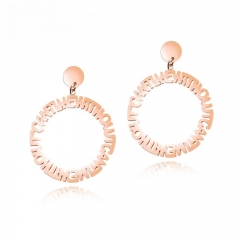 Western Style Fashion Personality Trend English Alphabet Circle Titanium Steel Lottery Earring gold one size