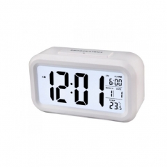 Creative Digital Smart Bell Temperature Snooze Alarm Clock Mute Backlight Electronic Clock white one size