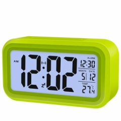 Creative Digital Smart Bell Temperature Snooze Alarm Clock Mute Backlight Electronic Clock green one size