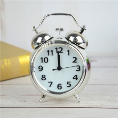Plating Classic Vintage Ring Bell Alarm Clock Child Creativity Small Alarm Clock Watch Clock white one size