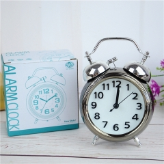 Plating Classic Vintage Ring Bell Alarm Clock Child Creativity Small Alarm Clock Watch Clock black one size