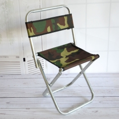 Camo Fold Backrest Fishing Stool Stainless Steel Pipe Outdoor Folding Chair Woven Folding Chairs camouflage