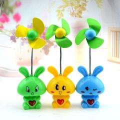 Charging Table Lamp Type Electric Fan Mini Cartoon Rabbit Energy Saving Multicolor Small Fan Random Color