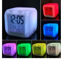 Colorful Alarm Clock Mood Color Change clock Colorful Stress Reliever Discoloration Square Clock white one size