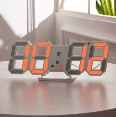 Family 3D led Electronic Digital Clock Wall Surface Three-dimensional Clock white one size
