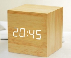 Led Electronic Wooden Alarm Clock Student Voice Control Luminous Bedside Desktop Clock white one size
