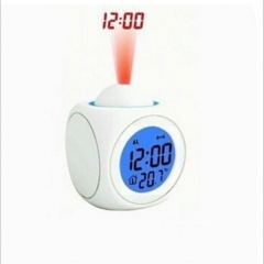 Multifunction Projection Report Clock Led Colorful Projection Voice Report Clock Projection Clock white one size